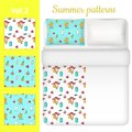 Vector white blank and summer bed linen set Royalty Free Stock Photo
