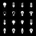 Vector white bulbs icons set