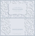 Vector White 3d Vintage Invitation Card with Floral Damask Pattern Royalty Free Stock Photo
