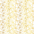 Vector White and Gold Foil Wire Geometric Mosaic Triangles Repeat Seamless Pattern Background. Can Be Used For Fabric Royalty Free Stock Photo