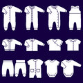 Vector white icons of baby clothes.