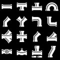 Vector white pipe fittings icon set Royalty Free Stock Photo