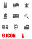 Vector white railroad icon set Royalty Free Stock Photo