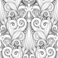 Vector White Seamless Pattern with Floral Ornament