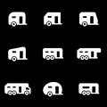 Vector white trailer icons set