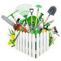 Vector White Wooden Fence with Garden Accessories