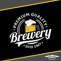 Vector white and yellow vintage brewery logo