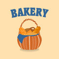 Vector wicker basket with bakery products