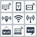 Vector wifi icons set computer and smartphone tablet pc pointer hotspot signboard laptop speech bubble Stock Image