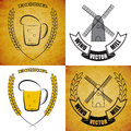 Vector windmill and mug of beer set on different layers Royalty Free Stock Photo