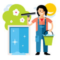 Vector Window washer. Cleaning service. Flat style colorful Cartoon illustration.