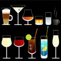 Vector wine and cocktail glasses Royalty Free Stock Photography