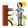 Vector Wing Chun kung fu Girl with two swords, wooden dummy. Flat style colorful Cartoon illustration.
