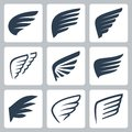 Vector wings icons Royalty Free Stock Photo