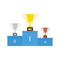 Vector winners podium or pedestal with gold, silver and bronze trophy cups.