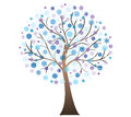 Vector winter art tree with snowflakes Royalty Free Stock Photo
