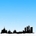 Vector winter background. Moscow skyline Royalty Free Stock Photos