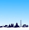Vector winter background. Paris silhouette skyline Royalty Free Stock Photo