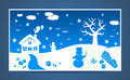 Vector winter cartoon landscape with many and christmas elements Royalty Free Stock Photos