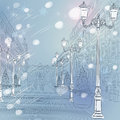 Vector winter christmas cityscape avenue with vin urban landscape the wide vintage buildings and beautiful lanterns in st Royalty Free Stock Photos