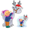 Vector winter Christmas, New Year illustration of little girl hugging deer Santa Claus. Royalty Free Stock Photo