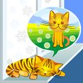 Vector Winter dreams ginger cat Stock Photography