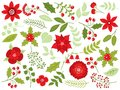 Vector Floral Christmas Set with Flowers, Berries and Leaves Royalty Free Stock Photo