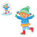 Vector winter illustration of small girl ice skating