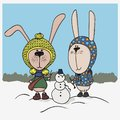 Winter illustration. Two cute bunnies with clothes in snowman