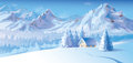 Vector of winter landscape with mountains and cote background is my creative handdrawing you can use it for christmas design etc Royalty Free Stock Image