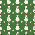 Vector winter pattern for decoration design with snowman and heart on a green background. Winter background decoration.