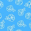 Vector Winter seamless pattern. Flower roses hand drawing white illustration isolated on blue background. Royalty Free Stock Photo