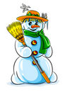 Vector winter snowman with broom Stock Image