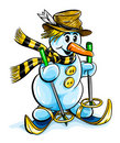 Vector winter snowman on skis Royalty Free Stock Image