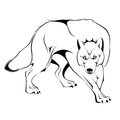 Vector wolf illustration of silhouette Royalty Free Stock Photos