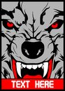 Vector wolf with pointed teeth hand drawing