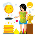 Vector Woman bakes pancakes. Flat style colorful Cartoon illustration.