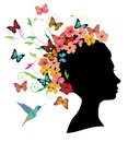 Vector Woman Head With Butterflies And Flowers Royalty Free Stock Photo