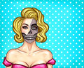 Vector woman with makeup in pop art style, skeleton face