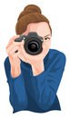 Vector of woman photographing with camera.