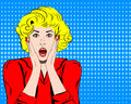 Vector woman shocked face with open mouth in pop art comics style and speech bubble for message retro amazed Royalty Free Stock Image