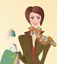 Vector of a woman on shopping with bags sale season Royalty Free Stock Photo