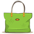 Vector women green canvas bag illustration female accessory Royalty Free Stock Images
