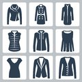Vector women s clothes icons set jacket and overcoat down padded coat vest sweatshirt blouse top suit jacket and jumper Royalty Free Stock Image