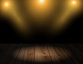 Vector wood background with lighting effects wooden floor and wall room interior lights or Royalty Free Stock Photo