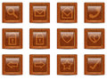 Vector wood web icons set Stock Photos
