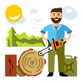 Vector Woodcutter. Flat style colorful Cartoon illustration.