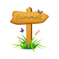 Vector wooden arrow with Summer text.