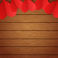 Vector wooden background with red paper hearts Royalty Free Stock Photo