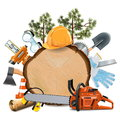 Vector Wooden Board with Chainsaw